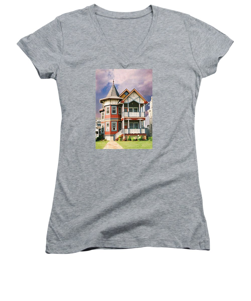 Landscape Women's V-Neck T-Shirt featuring the photograph Sisters Panel Two Of Triptych by Steve Karol