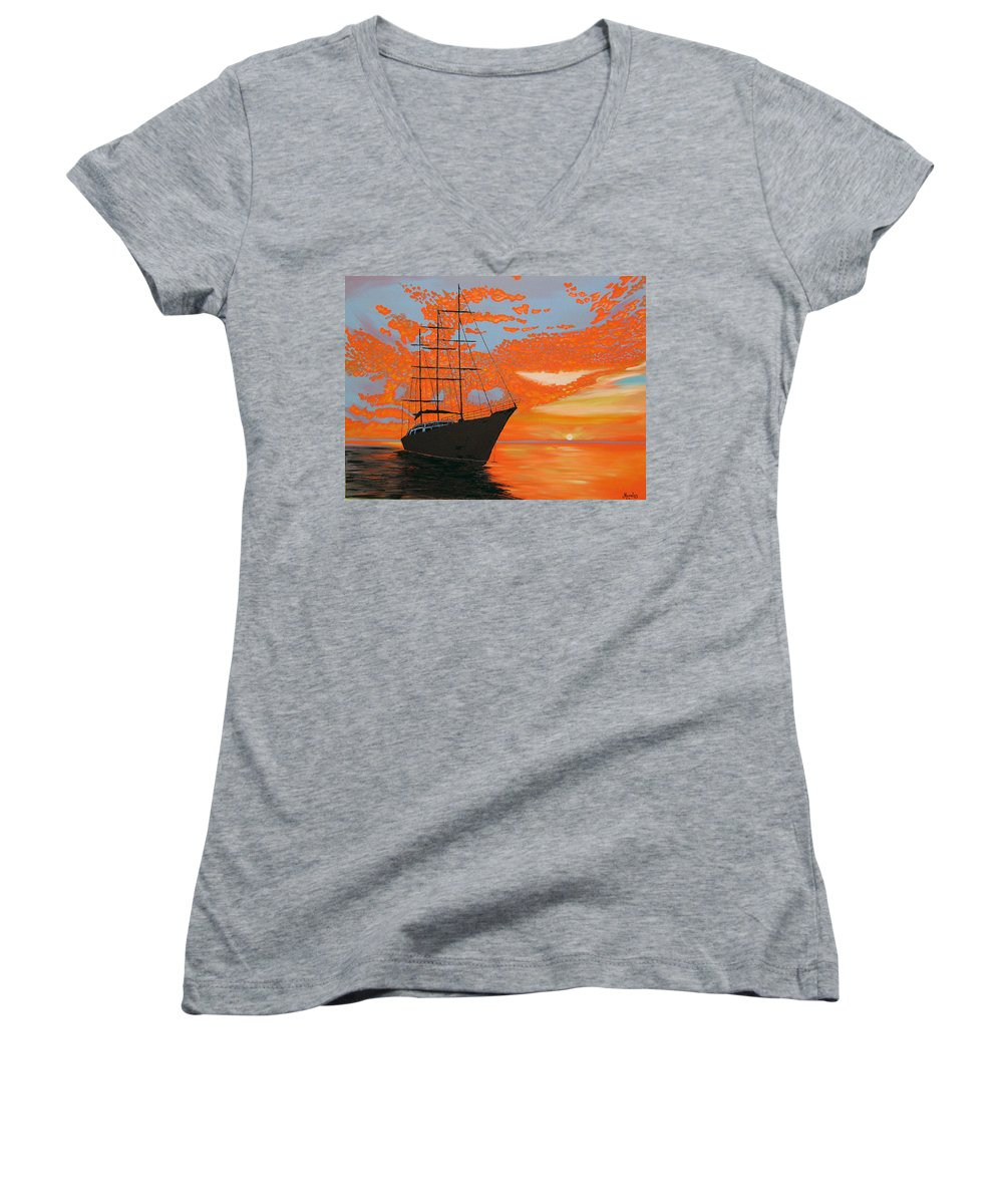 Seascape Women's V-Neck (Athletic Fit) featuring the painting Sittin' On The Bay by Marco Morales