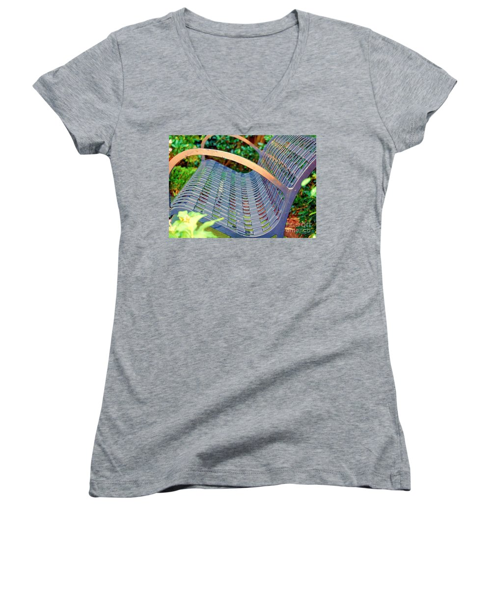 Bench Women's V-Neck (Athletic Fit) featuring the photograph Sitting On A Park Bench by Debbi Granruth