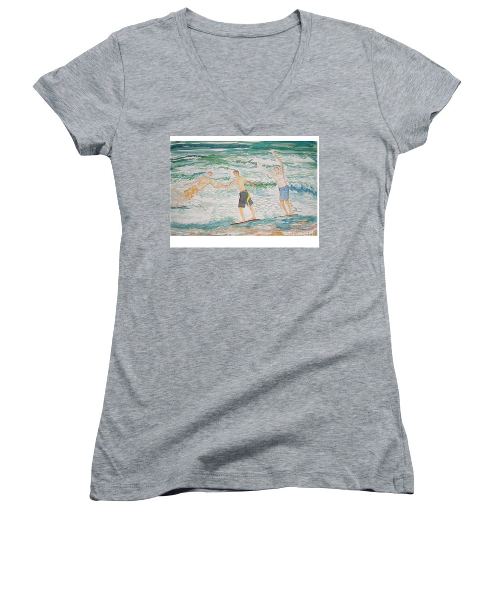 Seascape Women's V-Neck (Athletic Fit) featuring the painting Skim Boarding Daytona Beach by Hal Newhouser