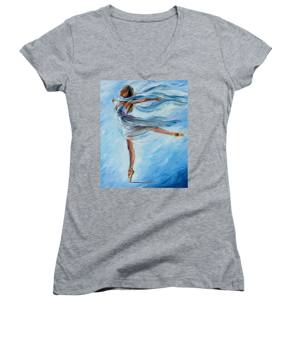 Ballet Women's V-Neck (Athletic Fit) featuring the painting Sky Dance by Leonid Afremov
