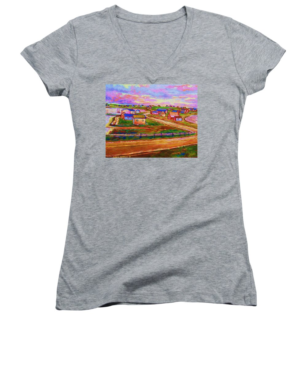 Sunrise Women's V-Neck T-Shirt featuring the painting Sleepy Little Village by Carole Spandau