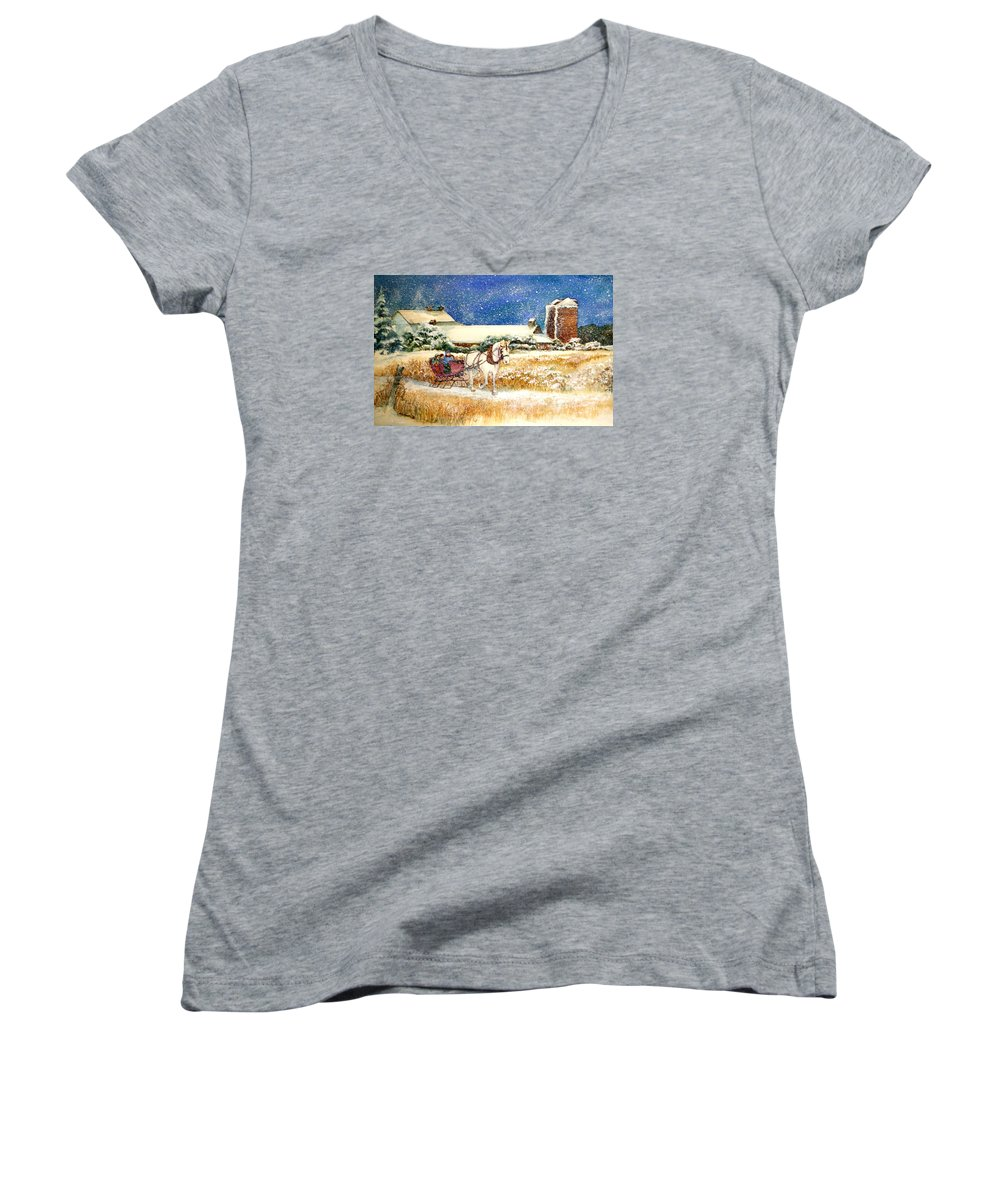 Watercolor;sleigh;horse;barn;silos;winter;snow;sleigh Ride;christmas; Women's V-Neck T-Shirt featuring the painting Sleigh Ride At Brickers by Lois Mountz