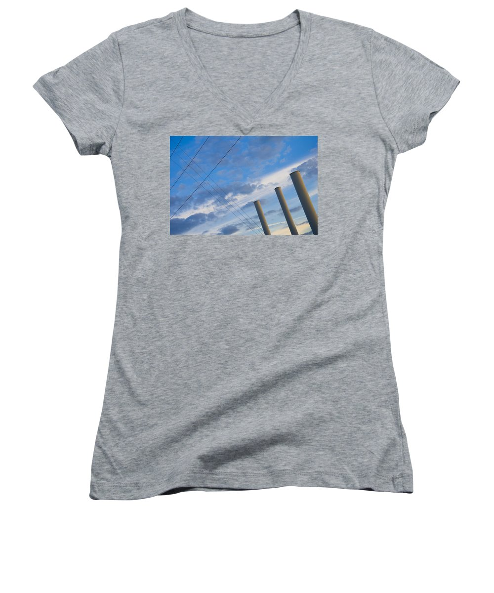 Blue Women's V-Neck T-Shirt featuring the photograph Smoke Stax by Skip Hunt