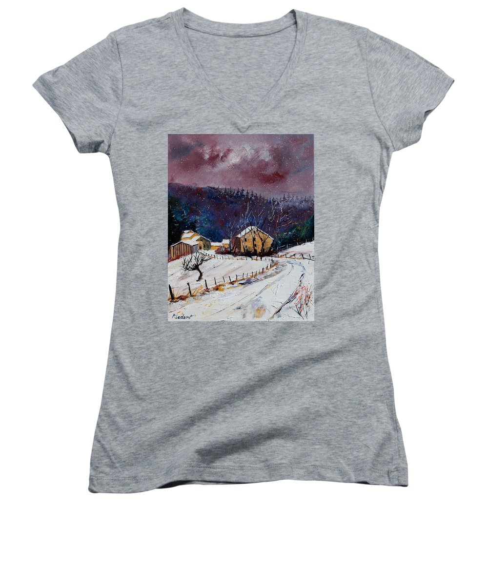 Landscape Women's V-Neck T-Shirt featuring the painting Snow In Sechery by Pol Ledent