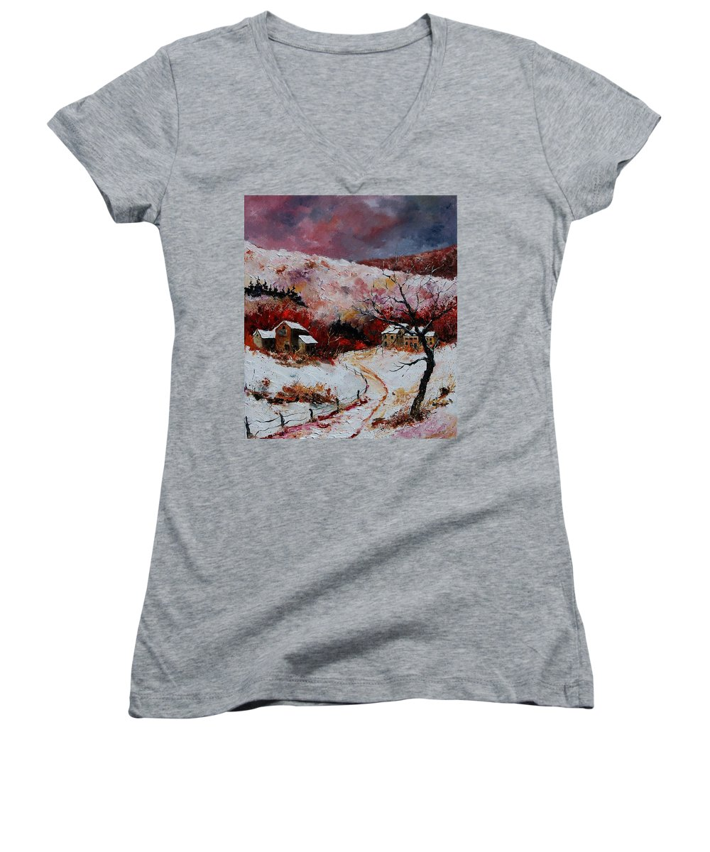 Snow Women's V-Neck T-Shirt featuring the painting Snow In The Ardennes 78 by Pol Ledent