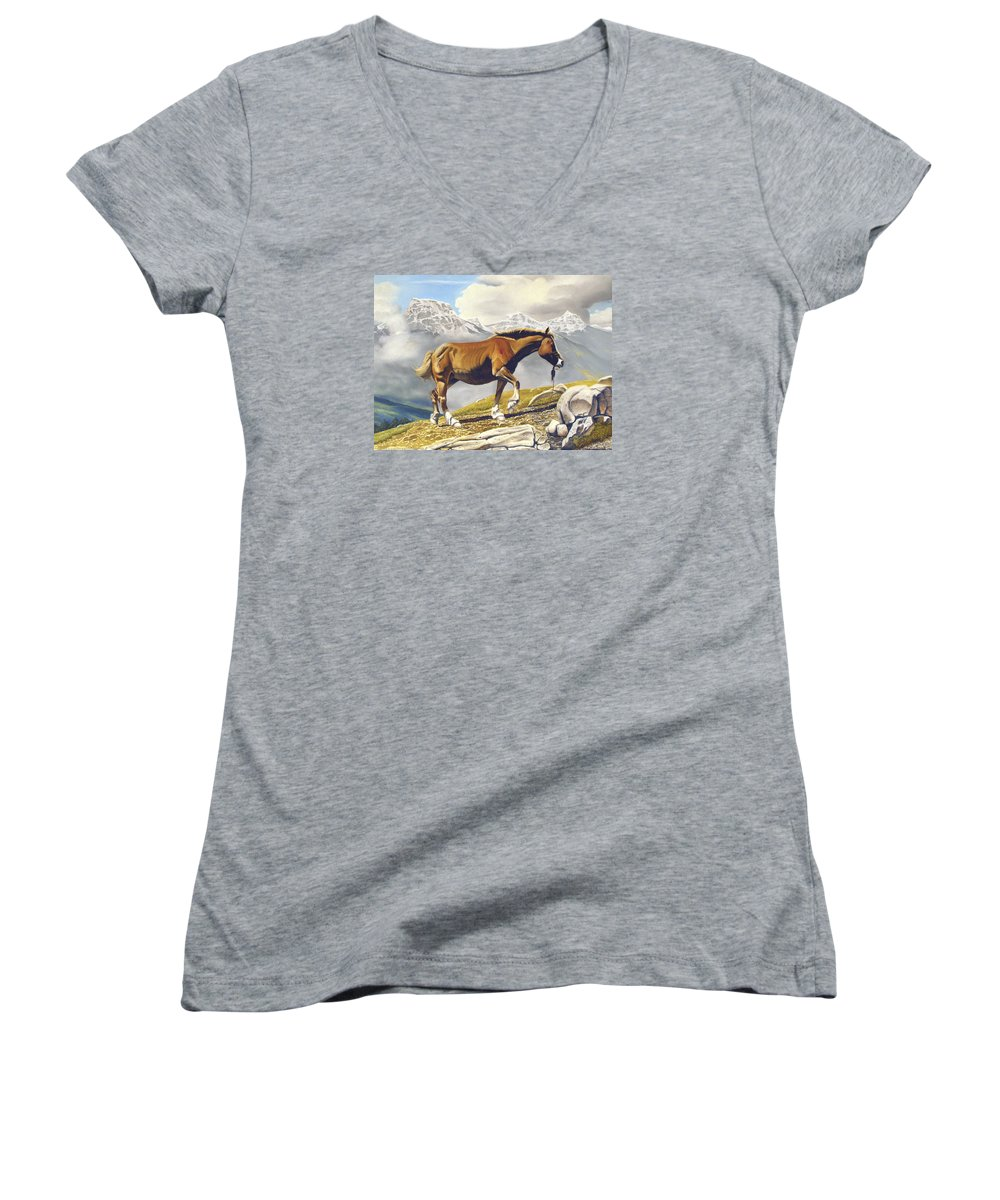 Horse Women's V-Neck T-Shirt featuring the painting Sole Survivor by Marc Stewart