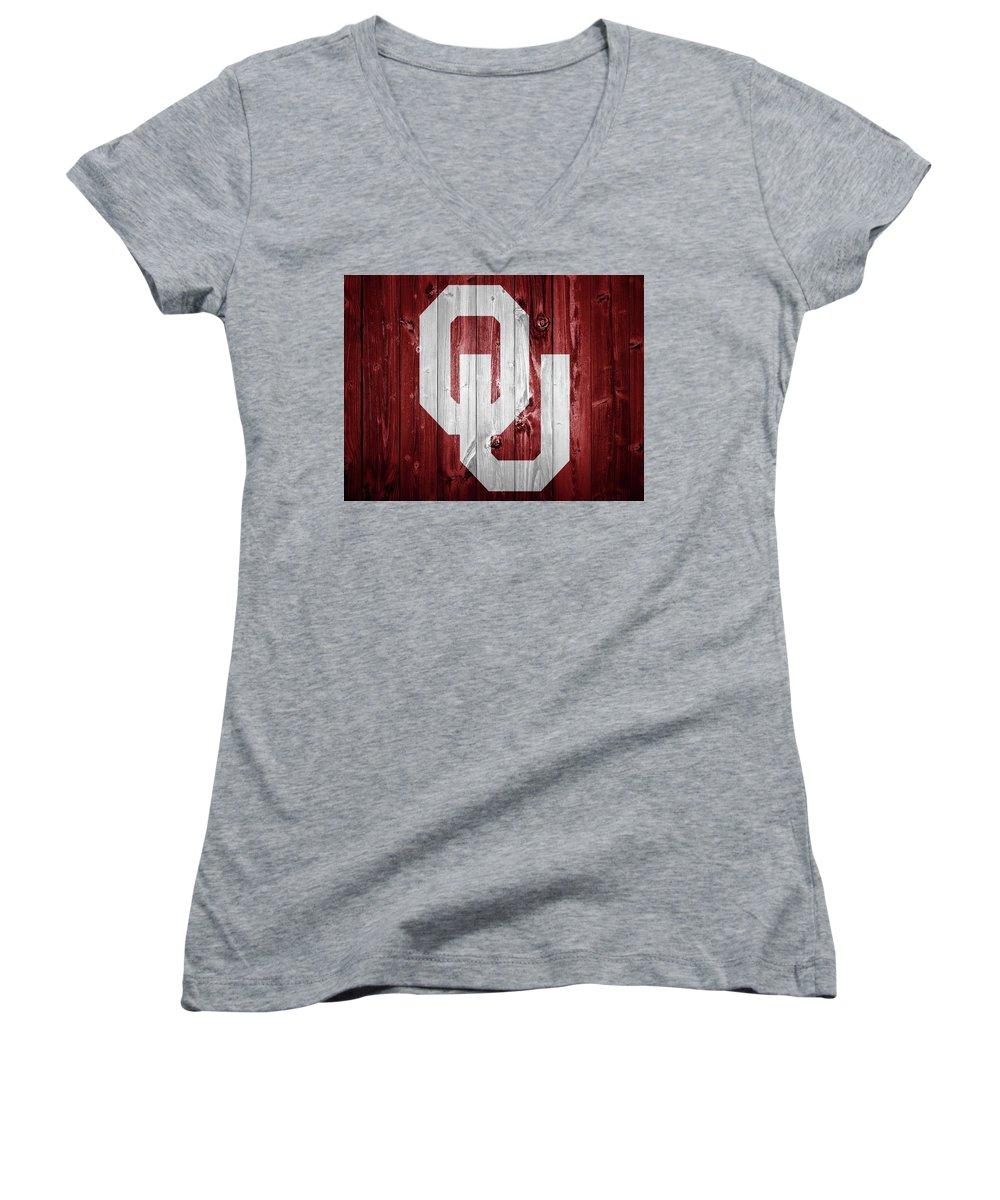 Oklahoma University Women's V-Neck T-Shirts