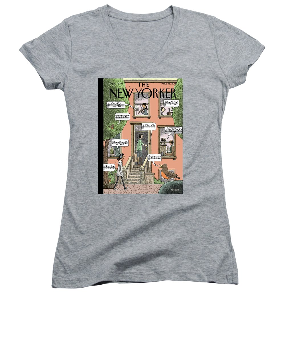 Soundtrack To Spring Women's V-Neck featuring the drawing Soundtrack To Spring by Tom Gauld