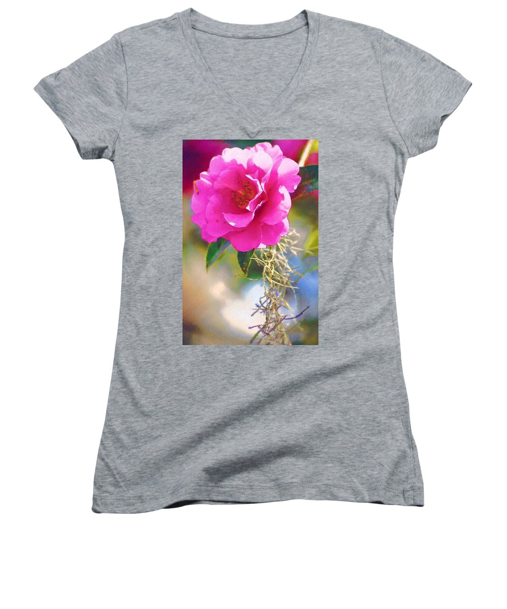 Rose Women's V-Neck T-Shirt featuring the digital art Southern Rose by Donna Bentley