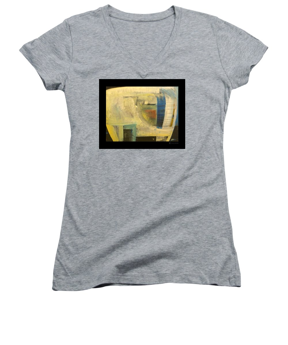 Dog Women's V-Neck T-Shirt featuring the painting Space Dog by Tim Nyberg