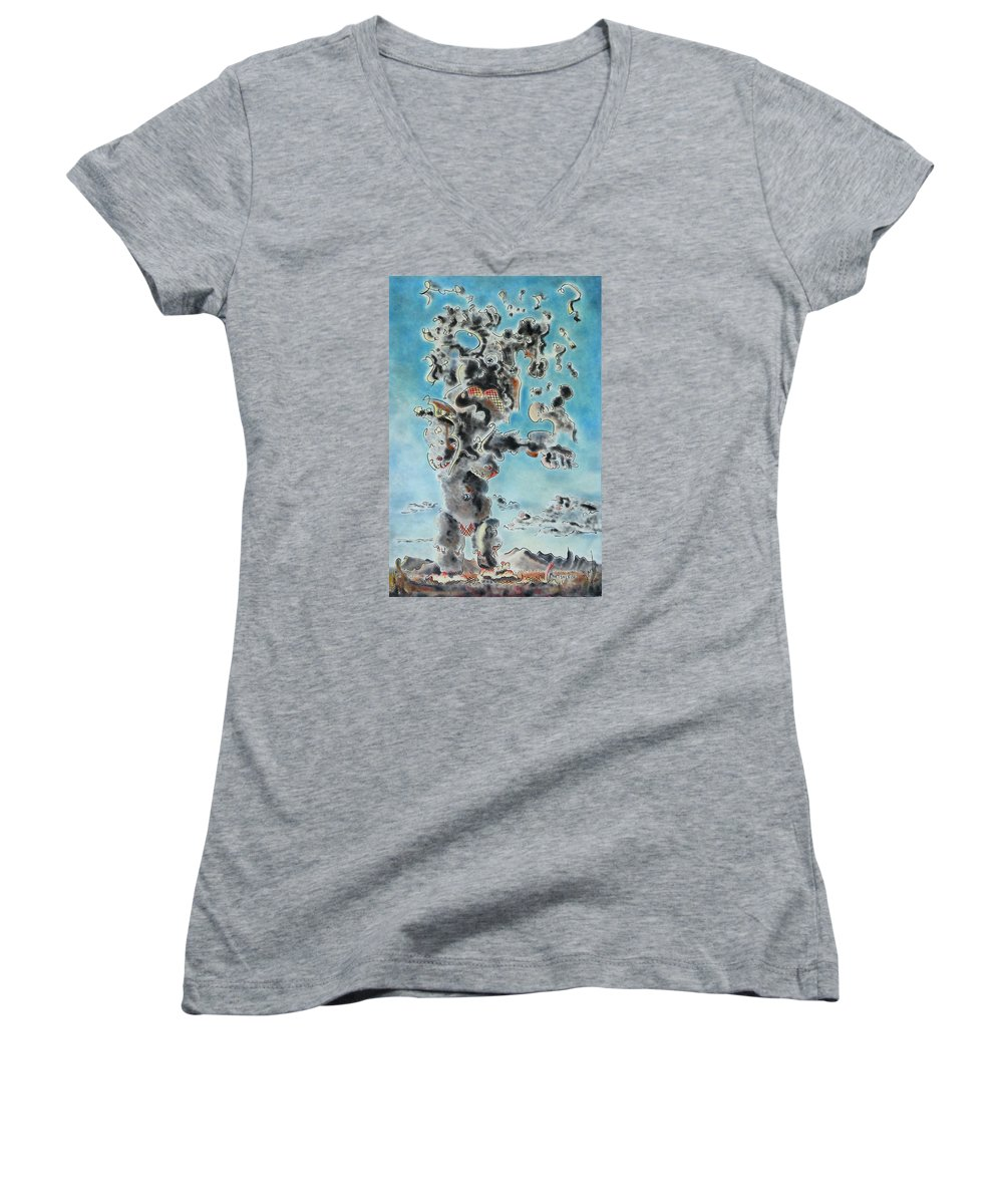 Surreal Women's V-Neck T-Shirt featuring the painting Spectre by Dave Martsolf