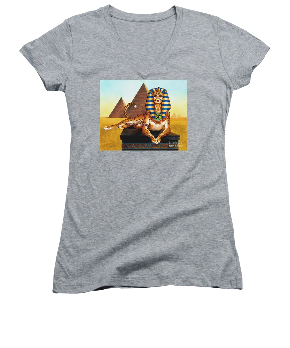 Cat Women's V-Neck T-Shirt featuring the painting Sphinx On Plinth by Melissa A Benson