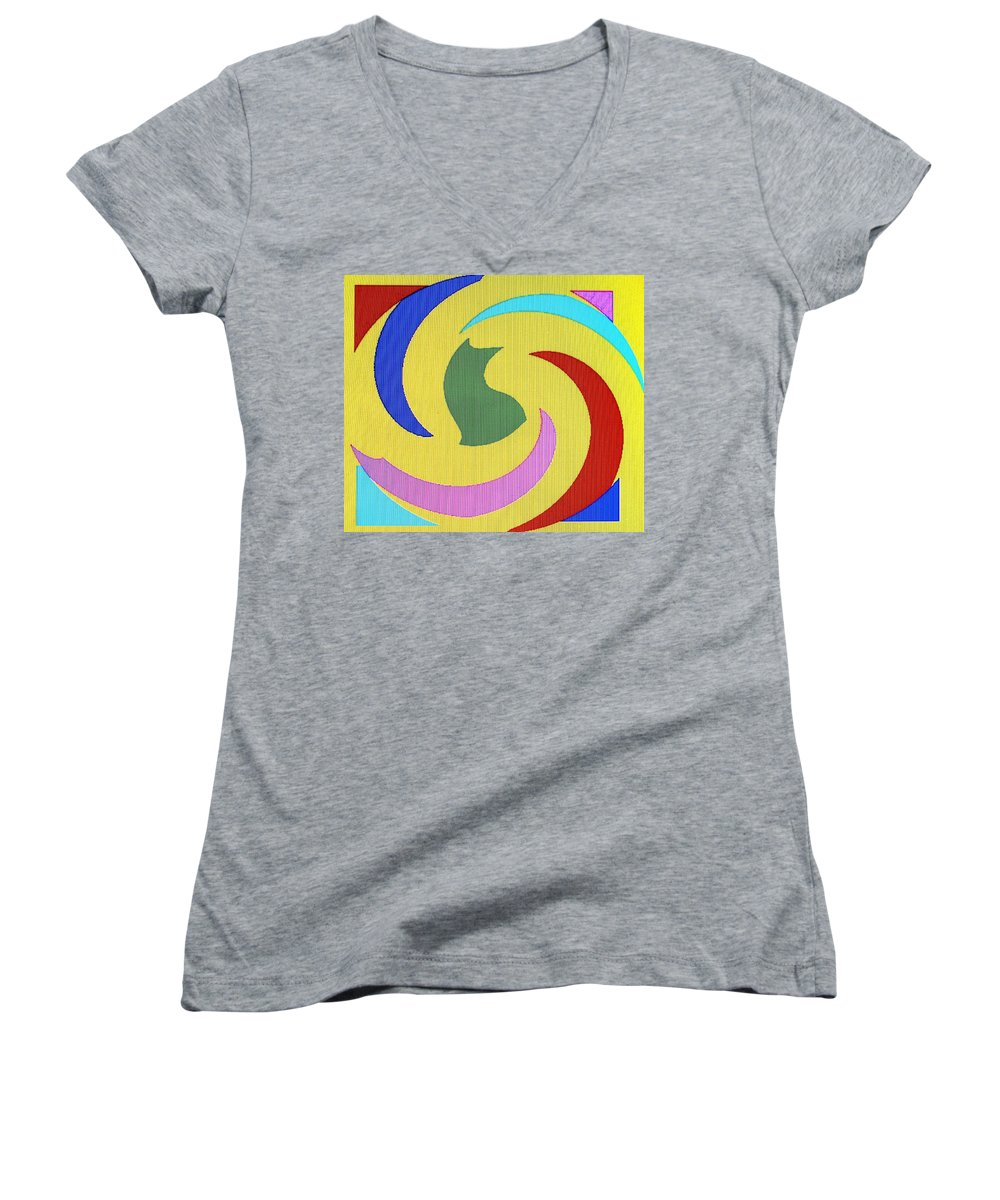 Abstract Women's V-Neck T-Shirt featuring the digital art Spiral Three by Ian MacDonald