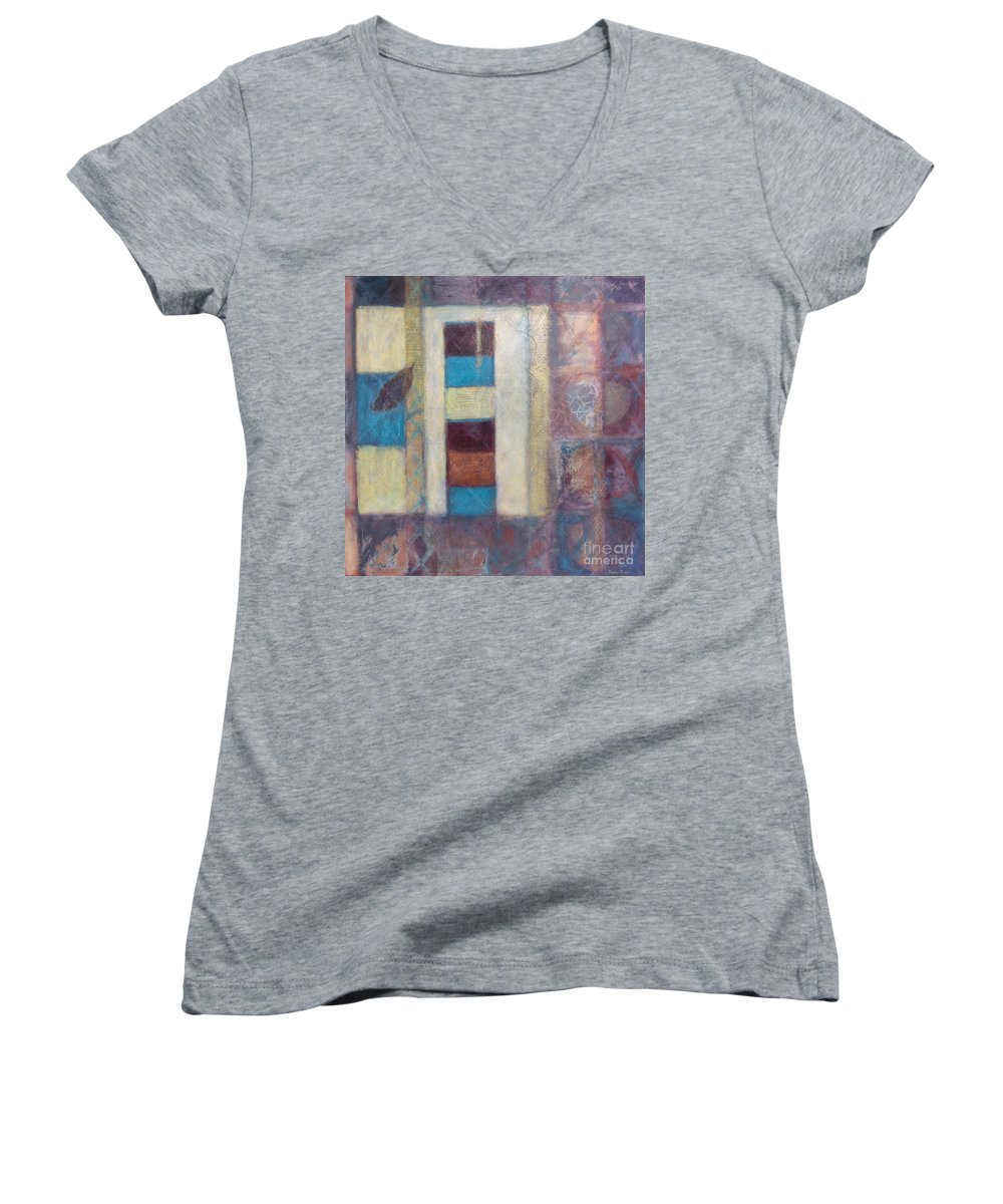 Spiritual Women's V-Neck (Athletic Fit) featuring the painting Spirit Of Gold - States Of Being by Kerryn Madsen- Pietsch