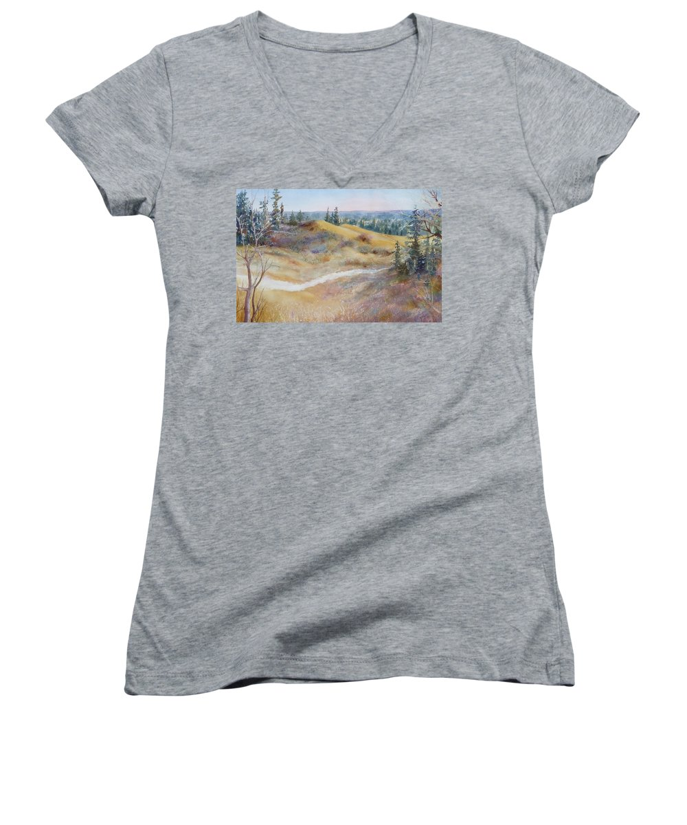 Landscape Women's V-Neck T-Shirt featuring the painting Spirit Sands by Ruth Kamenev
