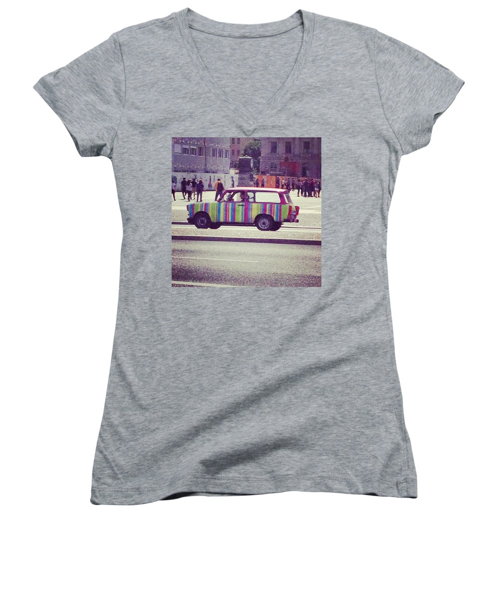 Art Women's V-Neck featuring the photograph Spotted A Few Of These Doing Tours by Charlotte Cooper