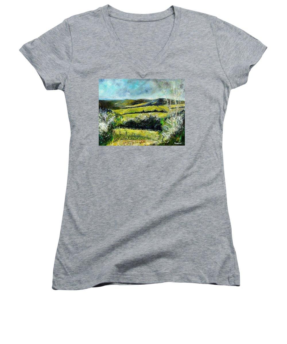 Landscape Women's V-Neck T-Shirt featuring the print Spring 79 by Pol Ledent