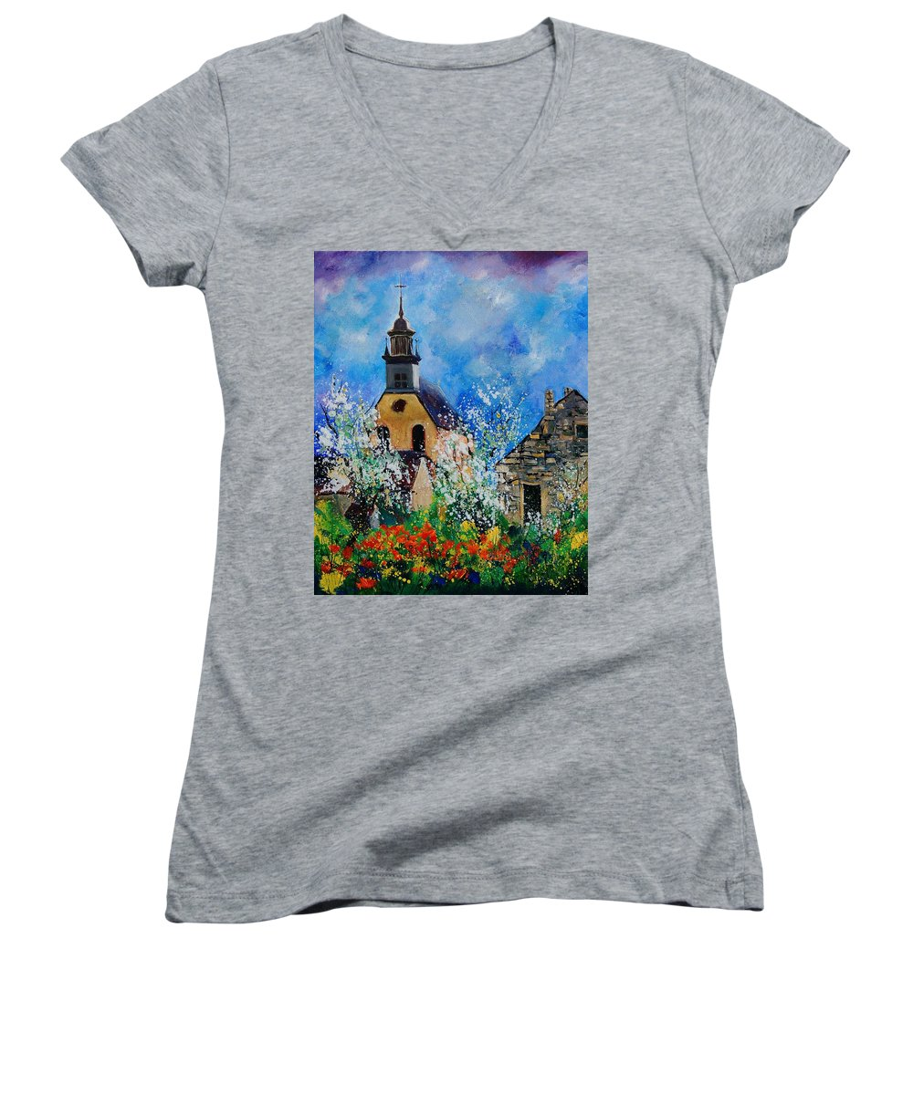 Spring Women's V-Neck T-Shirt featuring the painting Spring In Foy Notre Dame Dinant by Pol Ledent