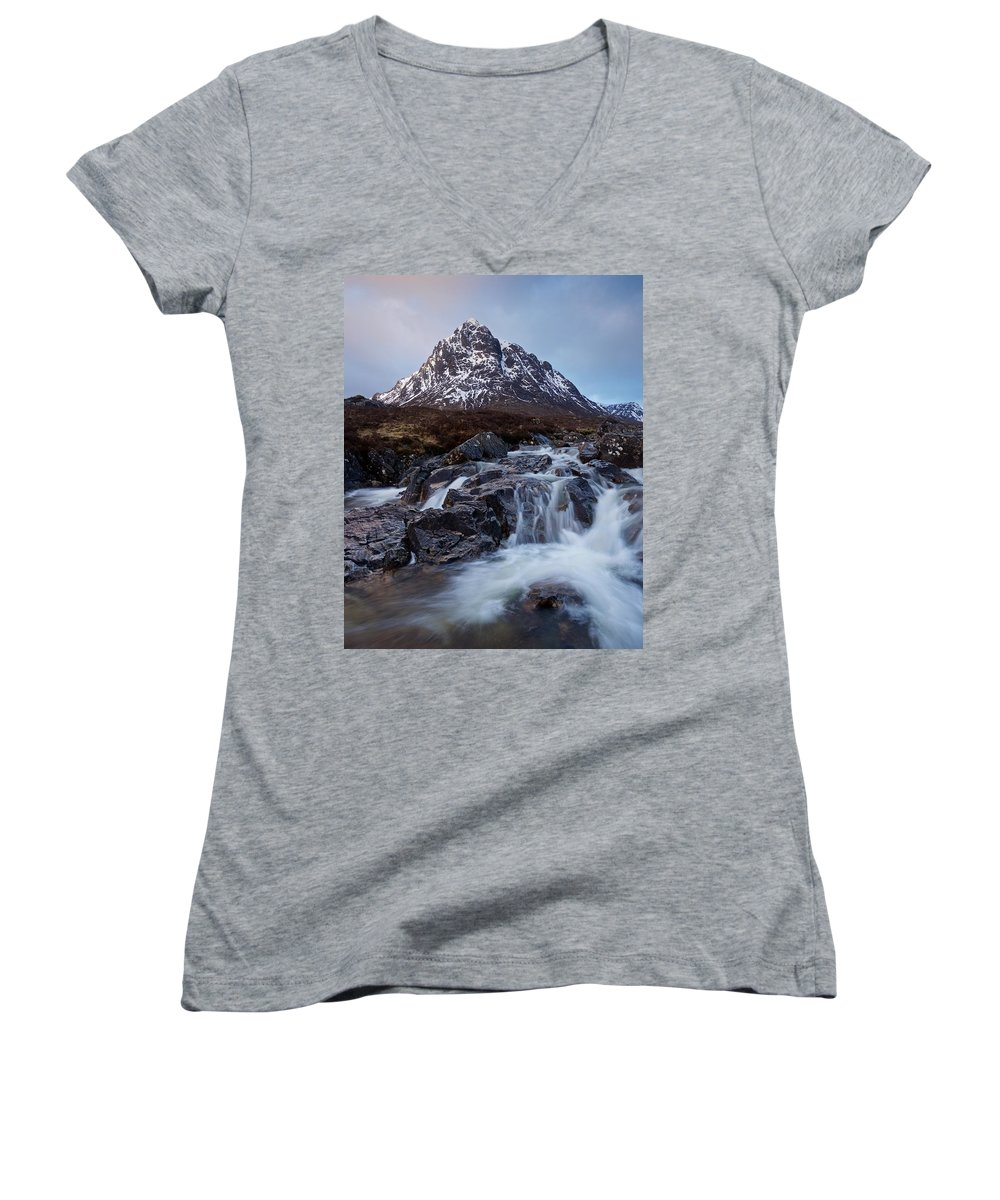 Glencoe Women's V-Neck featuring the photograph Spring In Glencoe by Stephen Taylor