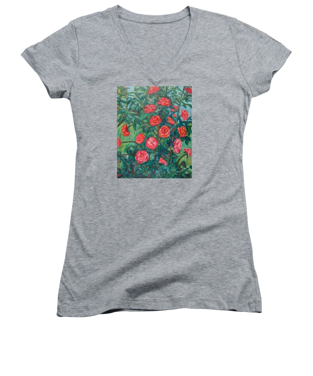 Rose Women's V-Neck T-Shirt featuring the painting Spring Roses by Kendall Kessler