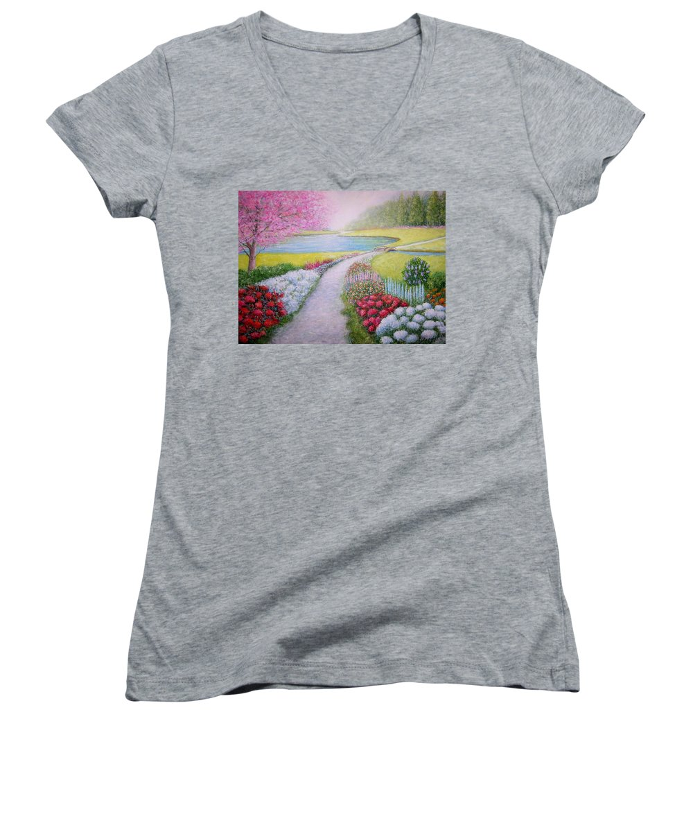Landscape Women's V-Neck T-Shirt featuring the painting Spring by William H RaVell III