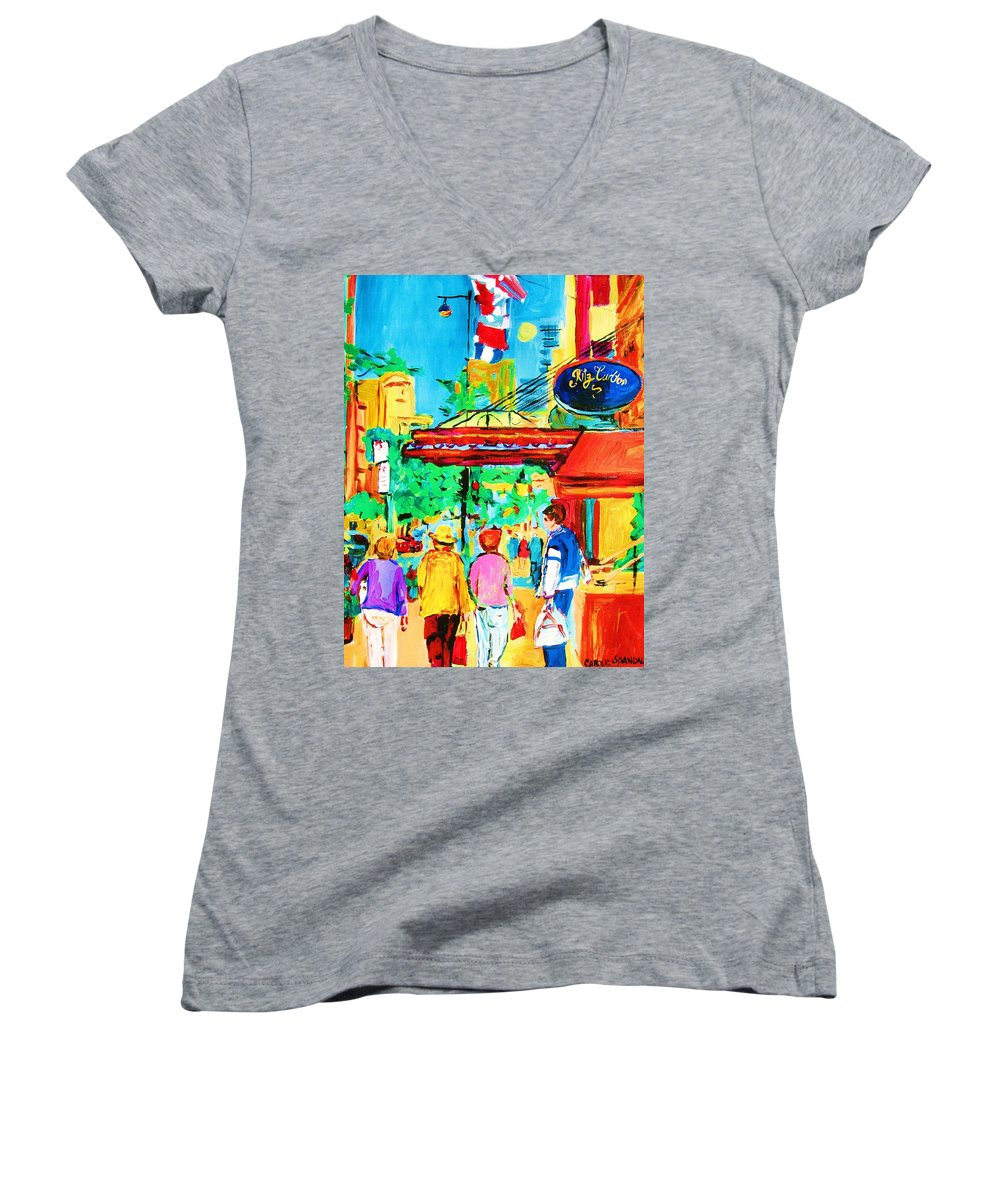 Paintings Of The Ritz Carlton On Sherbrooke Street Montreal Art Women's V-Neck (Athletic Fit) featuring the painting Springtime Stroll by Carole Spandau