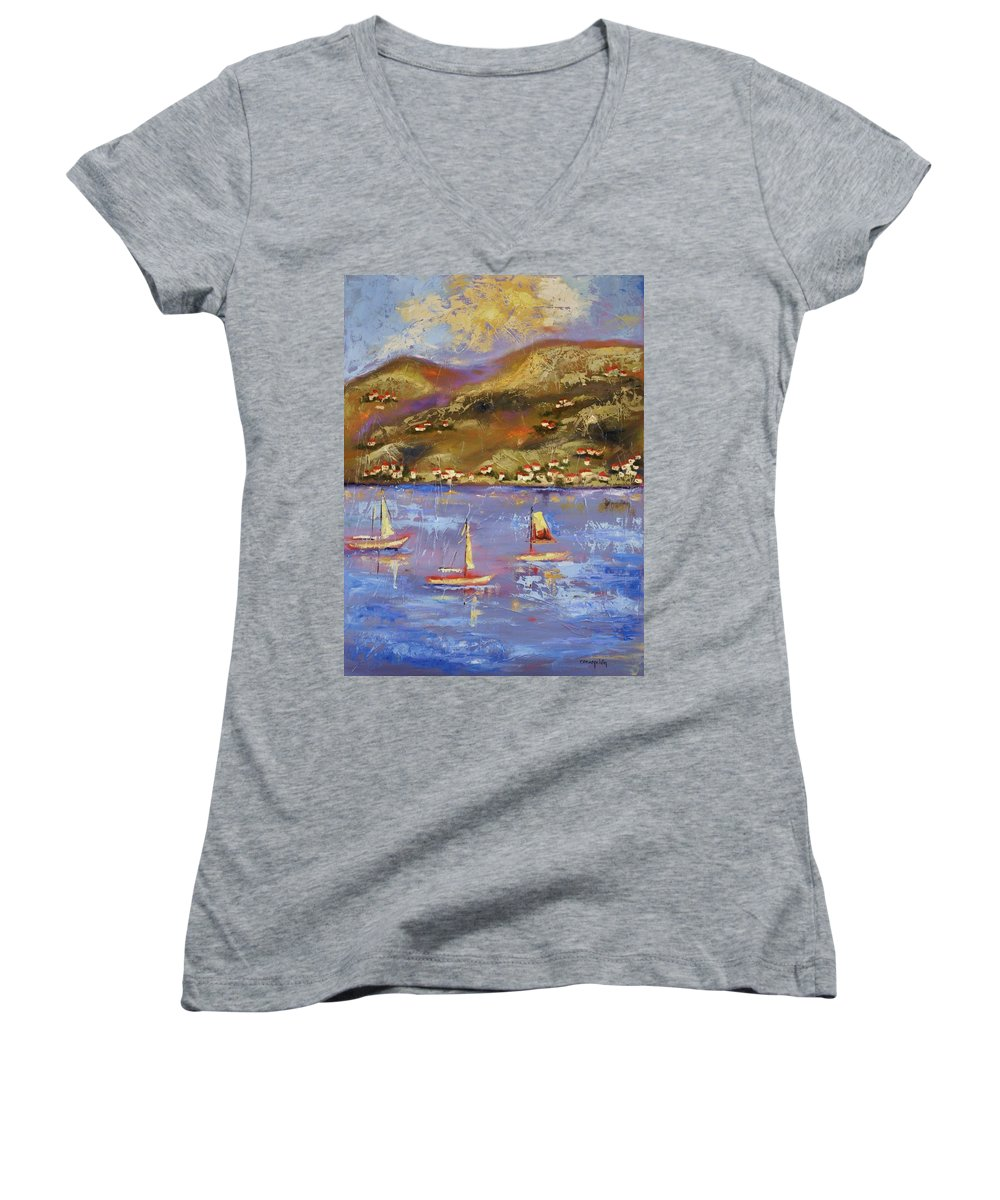 St. John Women's V-Neck (Athletic Fit) featuring the painting St. John Usvi by Ginger Concepcion