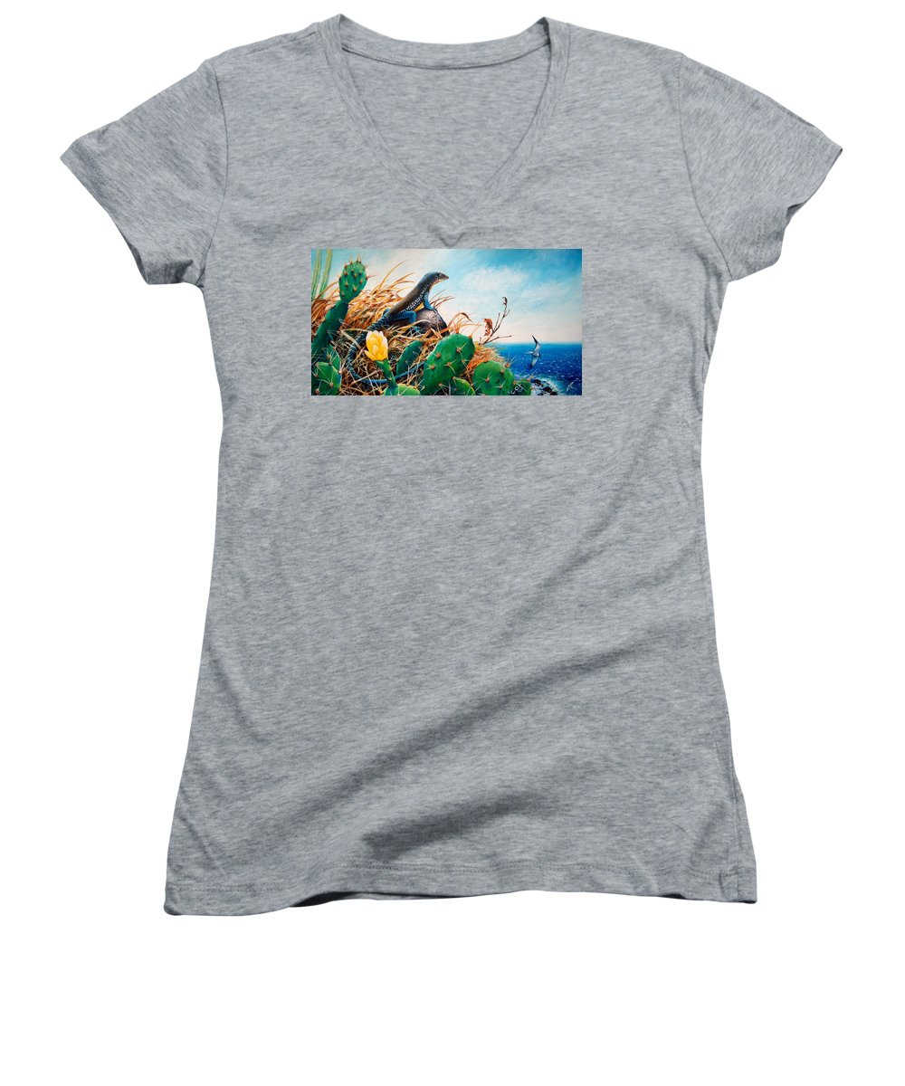 Chris Cox Women's V-Neck (Athletic Fit) featuring the painting St. Lucia Whiptail by Christopher Cox