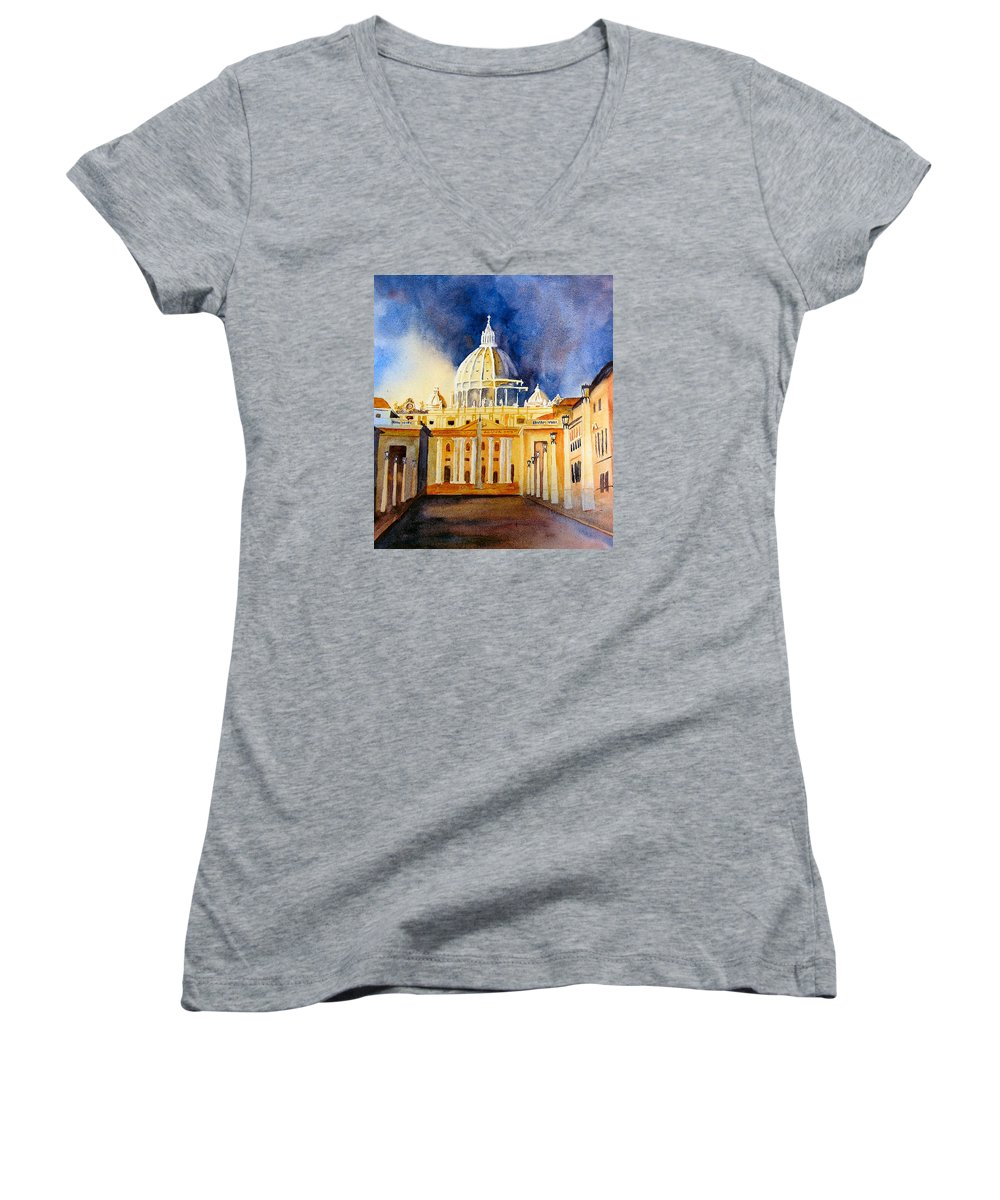 Vatican Women's V-Neck (Athletic Fit) featuring the painting St. Peters Basilica by Karen Stark