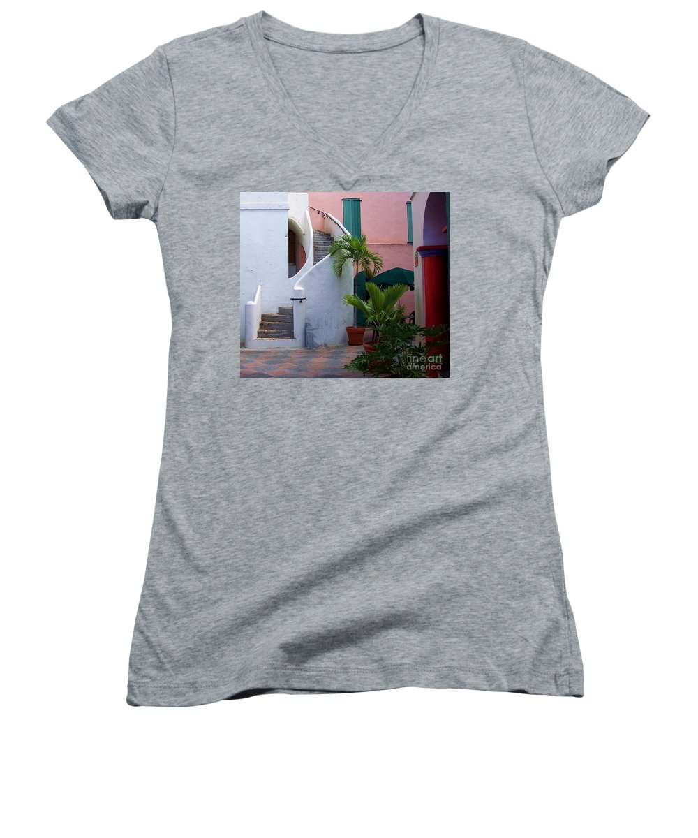 Architecture Women's V-Neck (Athletic Fit) featuring the photograph St. Thomas Courtyard by Debbi Granruth