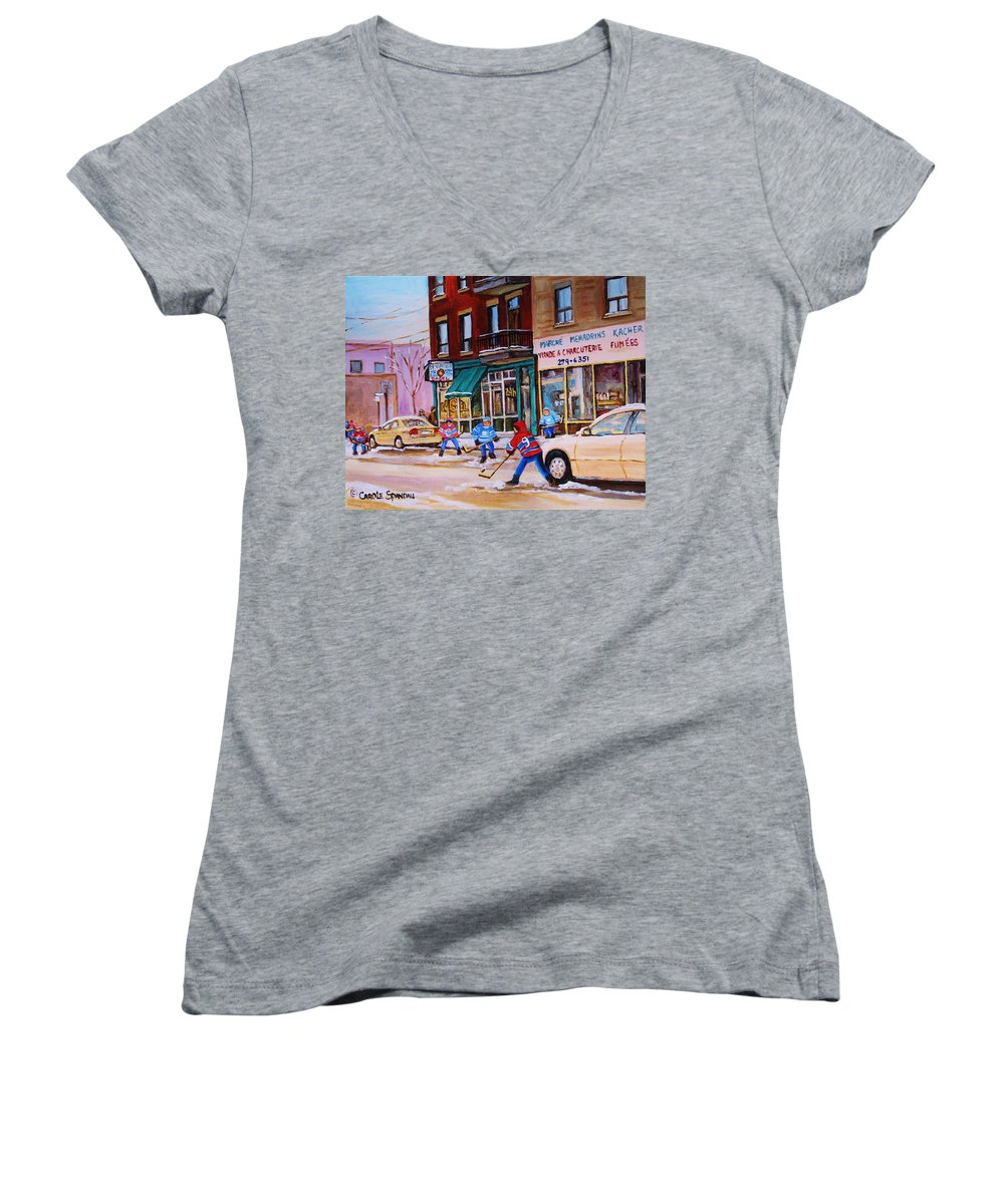 Montreal Women's V-Neck (Athletic Fit) featuring the painting St. Viateur Bagel With Boys Playing Hockey by Carole Spandau