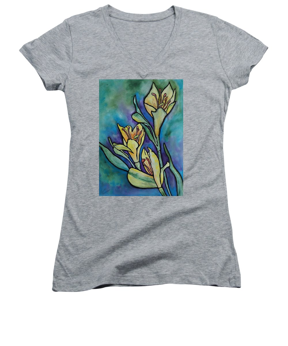 Flowers Women's V-Neck (Athletic Fit) featuring the painting Stained Glass Flowers by Ruth Kamenev