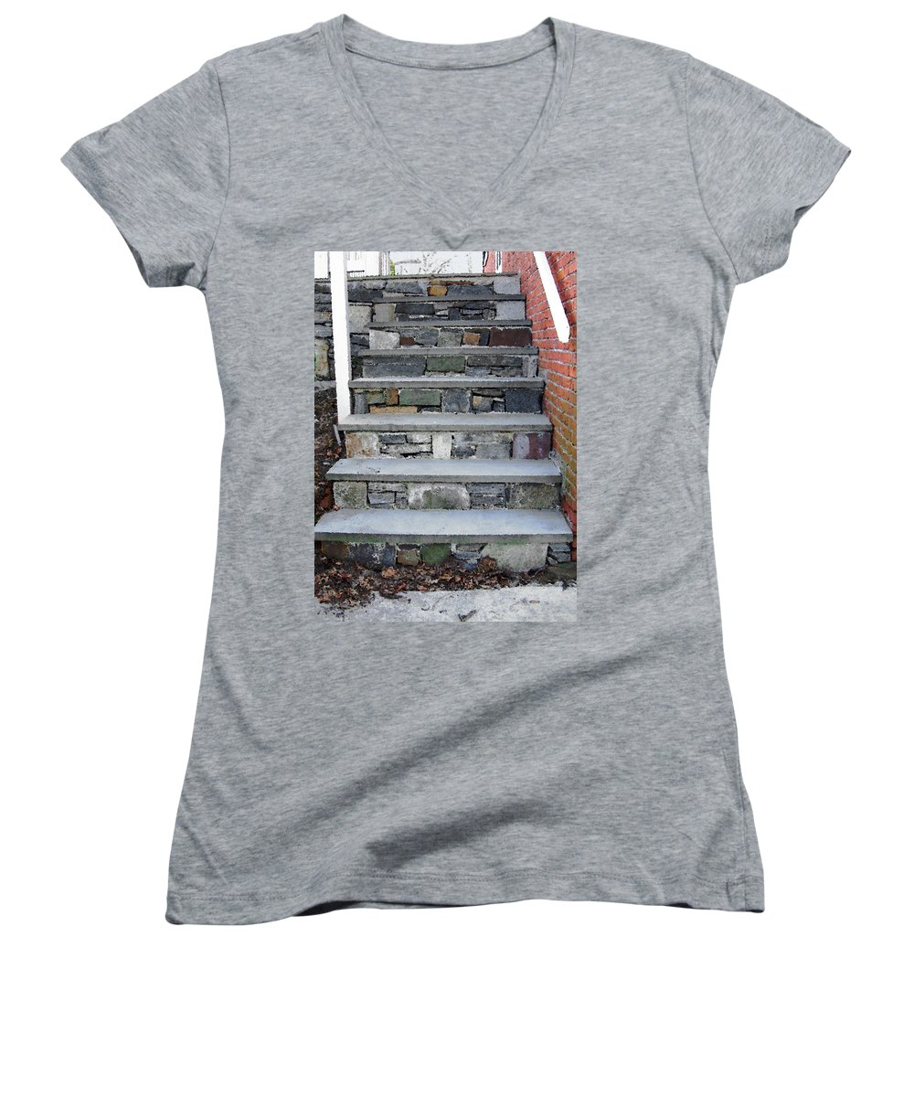 Stairs Women's V-Neck T-Shirt featuring the photograph Stairs To The Plague House by RC DeWinter