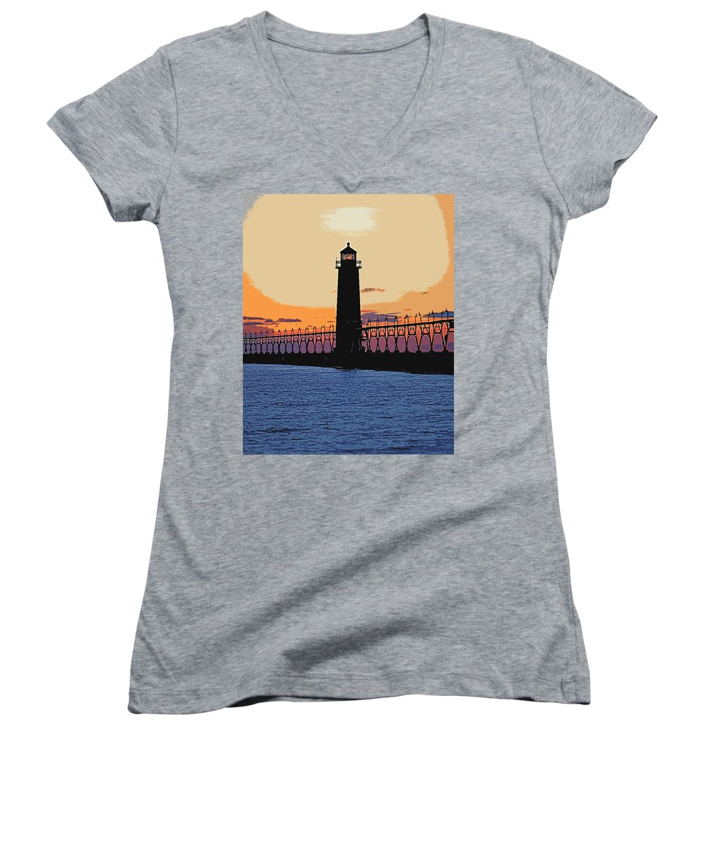 Light House Women's V-Neck T-Shirt featuring the photograph Standing Sure by Robert Pearson