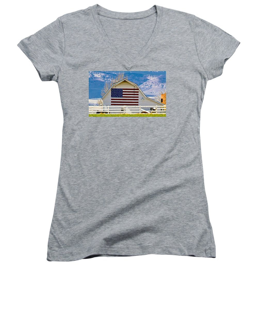 Barn Women's V-Neck (Athletic Fit) featuring the photograph Stars Stripes And Barns by Marilyn Hunt