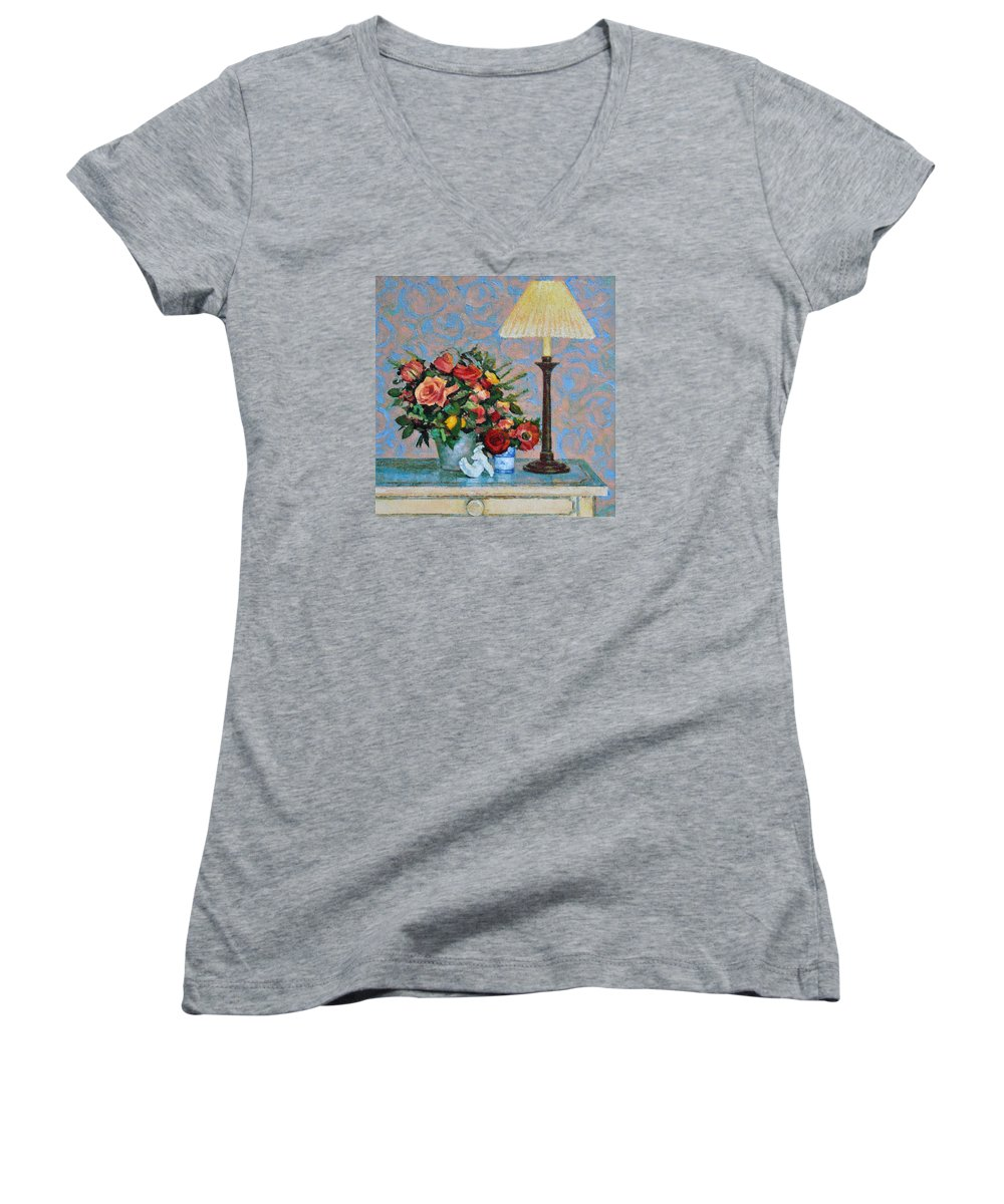 Flowers Women's V-Neck (Athletic Fit) featuring the painting Still Life With A Lamp by Iliyan Bozhanov