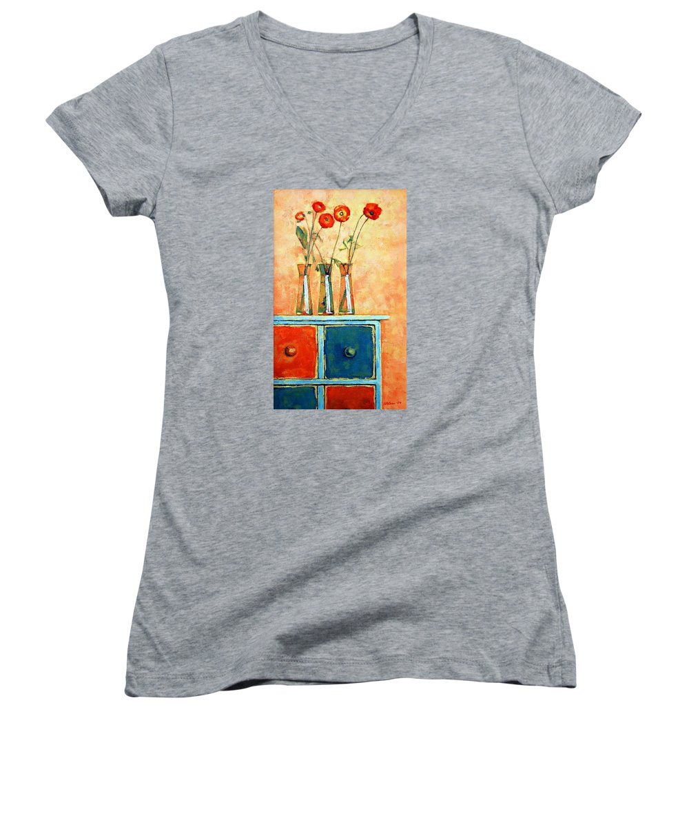 Poppies Women's V-Neck T-Shirt featuring the painting Still Life With Poppies by Iliyan Bozhanov