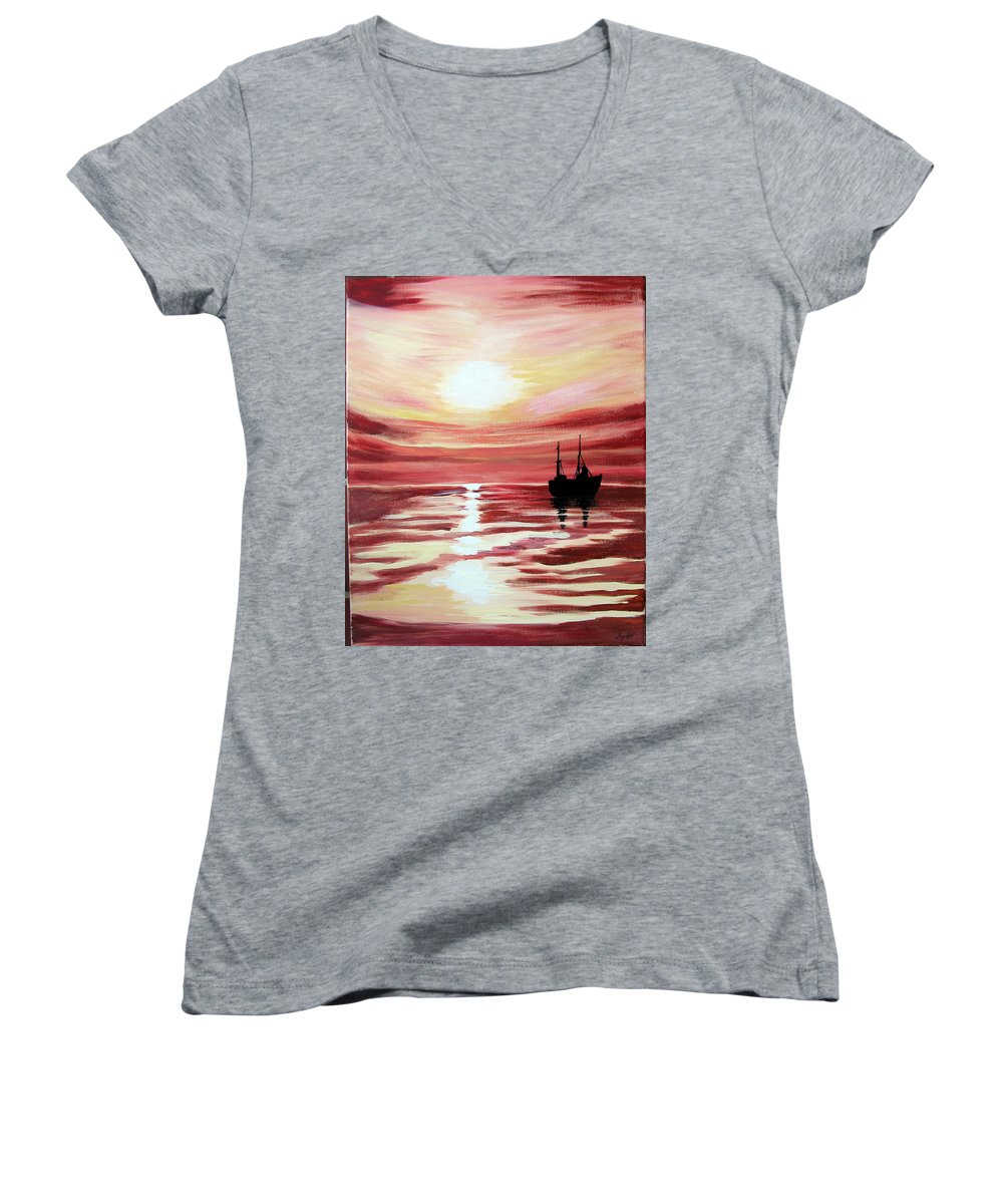 Seascape Women's V-Neck T-Shirt featuring the painting Still Waters Run Deep by Marco Morales