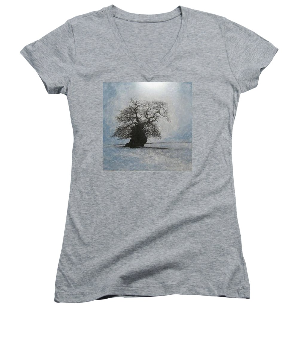 Silhouette Women's V-Neck T-Shirt (Junior Cut) featuring the painting Stilton Silhouette by Leah Tomaino
