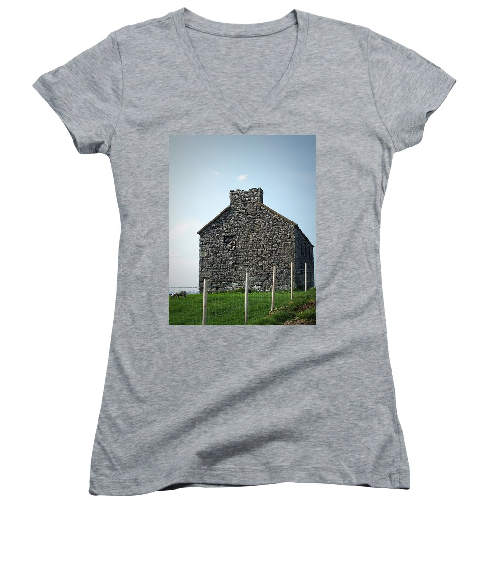 Irish Women's V-Neck (Athletic Fit) featuring the photograph Stone Building Maam Ireland by Teresa Mucha