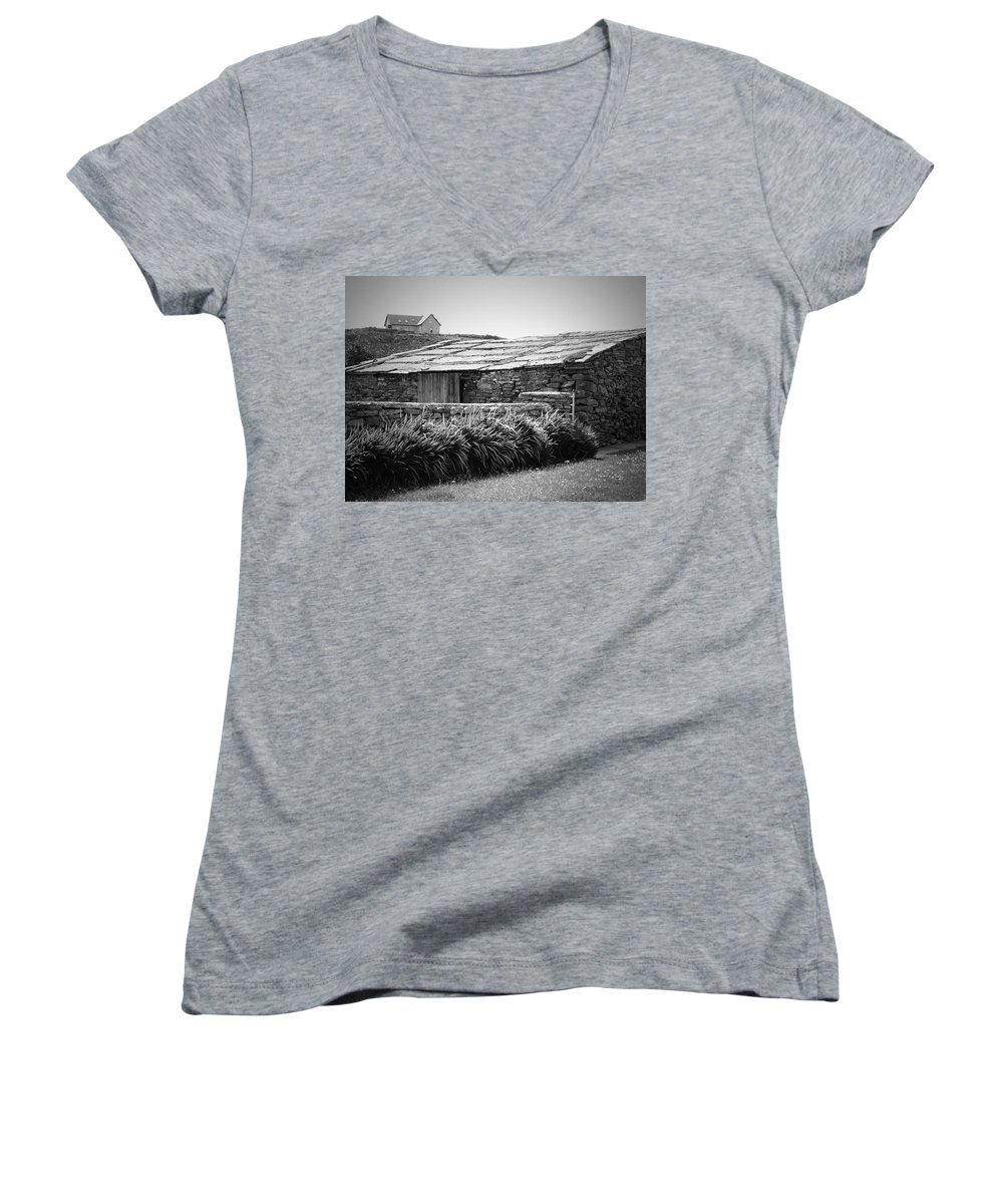Irish Women's V-Neck (Athletic Fit) featuring the photograph Stone Structure Doolin Ireland by Teresa Mucha