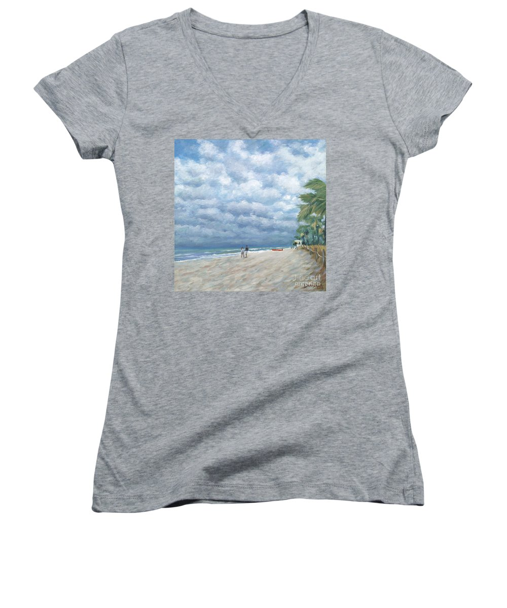 Fort Lauderdale Women's V-Neck T-Shirt featuring the painting Storm On The Horizon by Danielle Perry