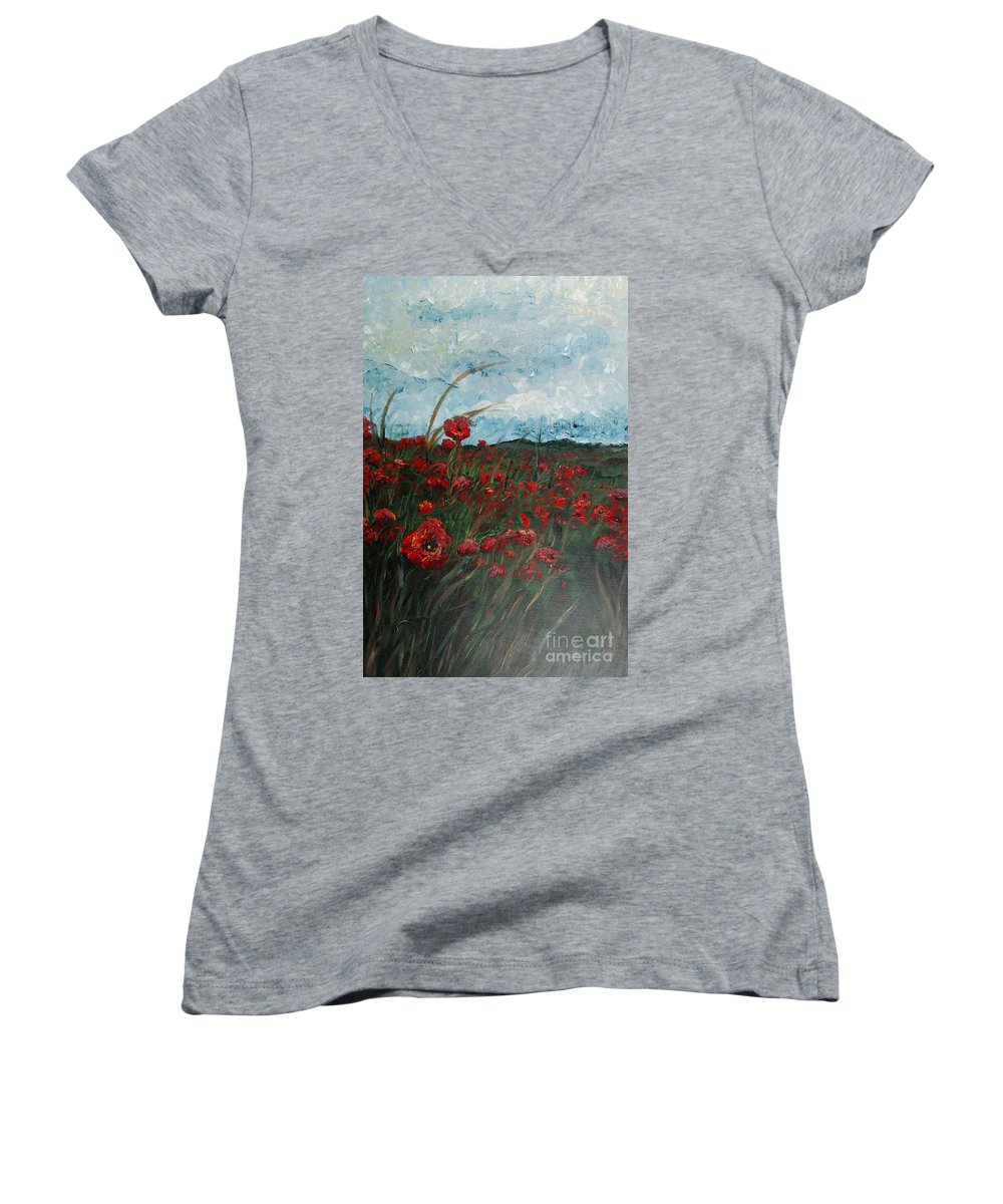 Poppies Women's V-Neck T-Shirt featuring the painting Stormy Poppies by Nadine Rippelmeyer