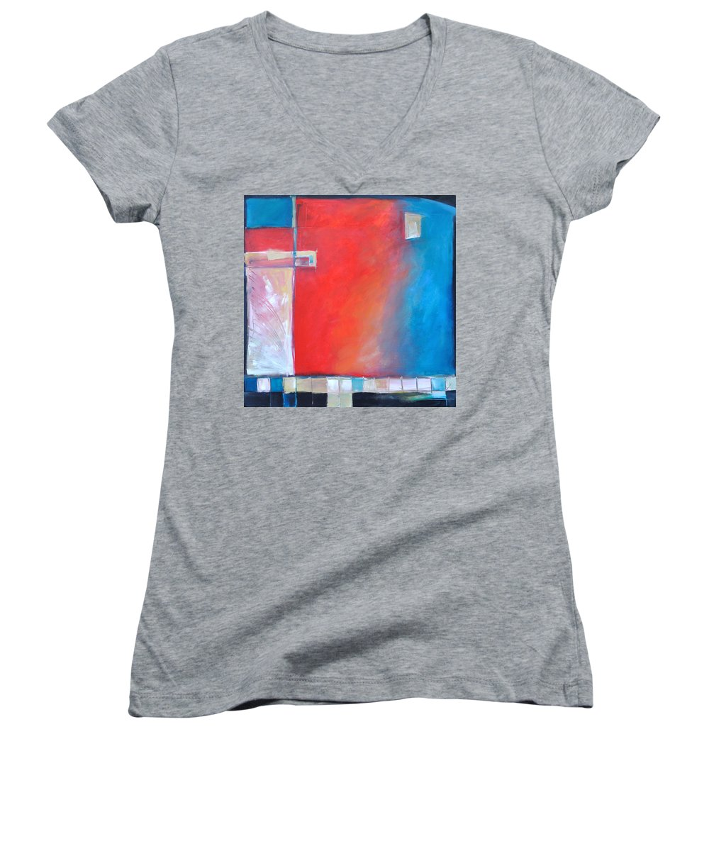 Abstract Women's V-Neck (Athletic Fit) featuring the painting Structures And Solitude Revisited by Tim Nyberg
