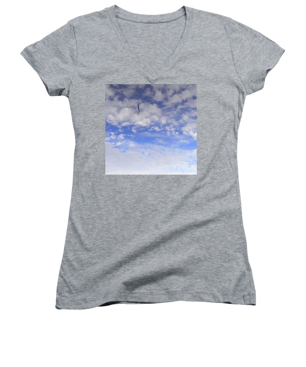 Sky Women's V-Neck T-Shirt featuring the photograph Stuck In The Clouds by Ed Smith