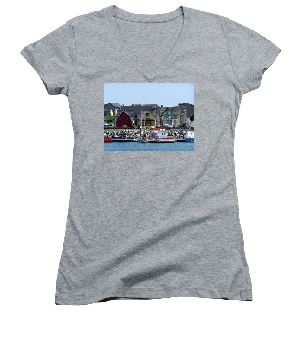 Irish Women's V-Neck T-Shirt featuring the photograph Summer Cottages Dingle Ireland by Teresa Mucha
