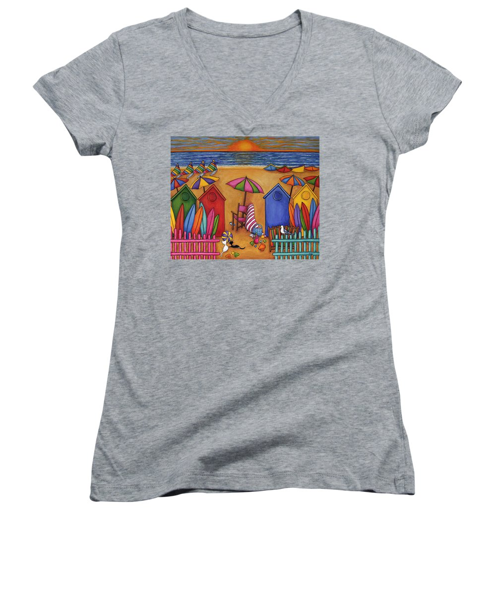 Summer Women's V-Neck T-Shirt featuring the painting Summer Delight by Lisa Lorenz