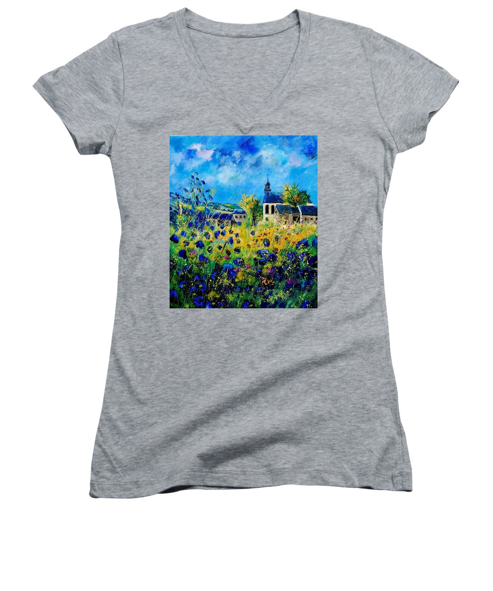 Poppies Women's V-Neck (Athletic Fit) featuring the painting Summer In Foy Notre Dame by Pol Ledent
