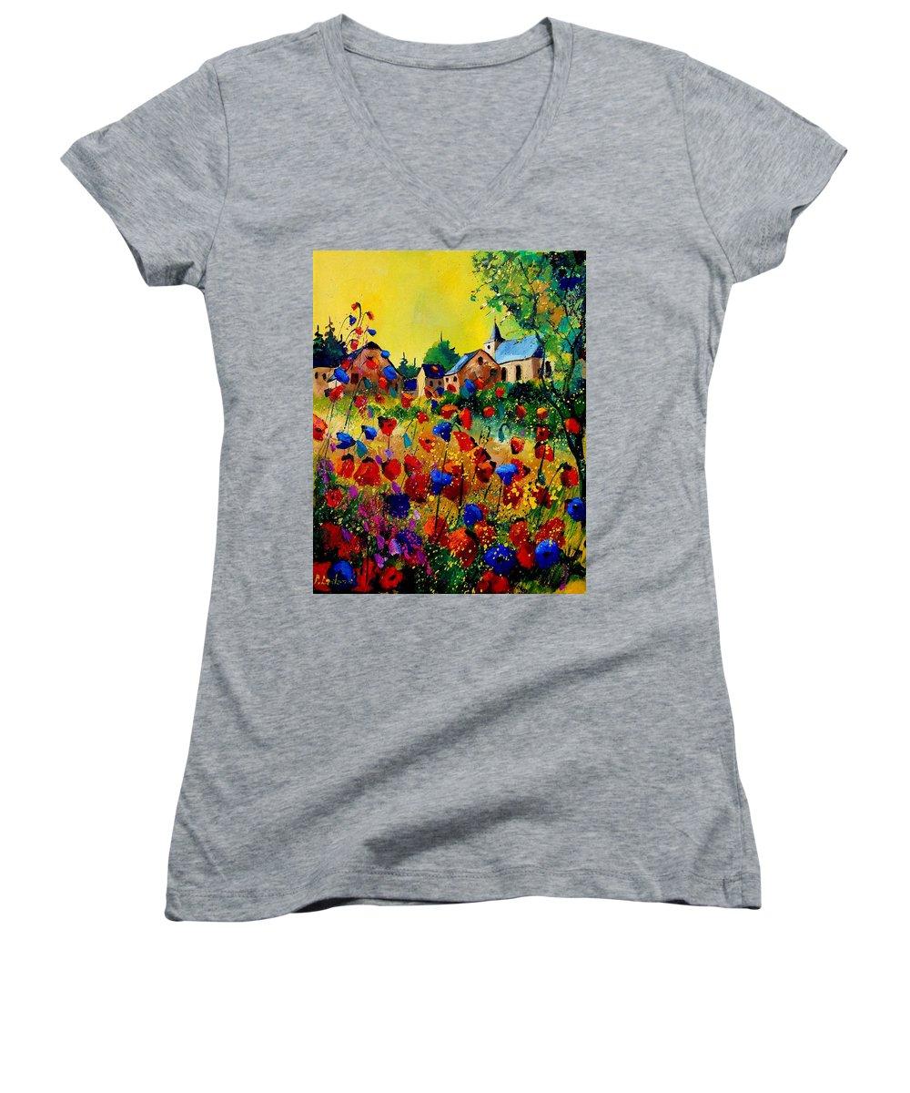 Poppy Women's V-Neck T-Shirt featuring the painting Summer In Sosoye by Pol Ledent